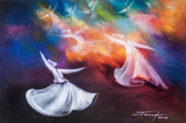 """Painting titled """"Whirling Dervishes18"""" by Shafique Farooqi, Original Art, Oil"""