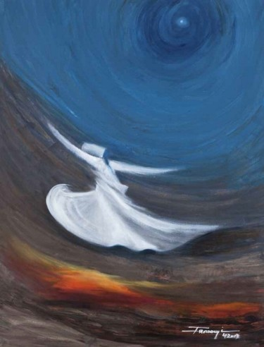 """Painting titled """"Whirling Dervishes20"""" by Shafique Farooqi, Original Art, Oil"""