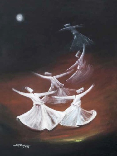 """Painting titled """"Whirling Dervishes21"""" by Shafique Farooqi, Original Art, Oil"""