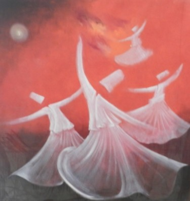 """Painting titled """"Whirling Dervishes22"""" by Shafique Farooqi, Original Art, Oil"""
