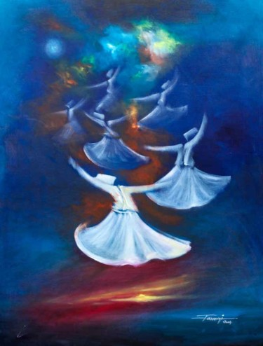 """Painting titled """"Whirling Dervishes23"""" by Shafique Farooqi, Original Art, Oil"""
