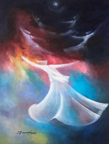 """Painting titled """"Whirling Dervishes25"""" by Shafique Farooqi, Original Art, Oil"""