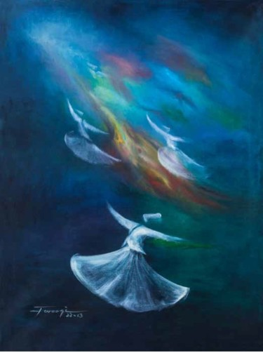 """Painting titled """"Whirling Dervishes26"""" by Shafique Farooqi, Original Art, Oil"""