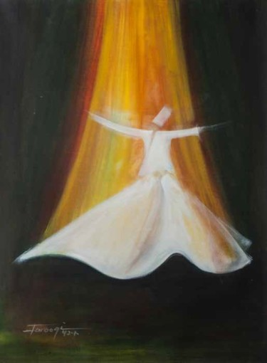 """Painting titled """"Whirling Dervishes27"""" by Shafique Farooqi, Original Art, Oil"""