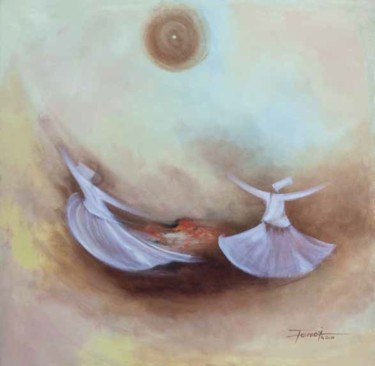 """Painting titled """"Whirling Dervishes28"""" by Shafique Farooqi, Original Art, Oil"""
