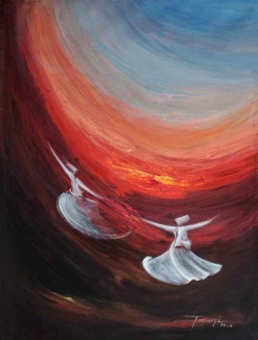 """Painting titled """"Whirling Dervishes…"""" by Shafique Farooqi, Original Art, Oil"""