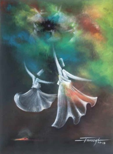 """Painting titled """"Whirling Dervishes1"""" by Shafique Farooqi, Original Art, Oil"""
