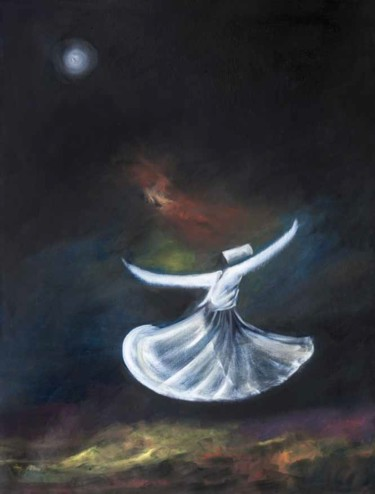 """Painting titled """"Whirling Dervishes"""" by Shafique Farooqi, Original Art, Oil"""