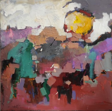 Landscape Painting, oil, abstract, artwork by Shahram Nabati