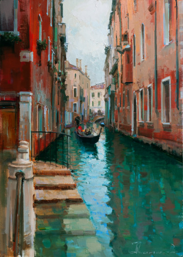 """Painting titled """"Venice in winter, n…"""" by Shalaev Alexey, Original Art, Oil Mounted on Stretcher frame"""