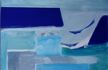 """Painting titled """"Blue Harbour Day"""" by Shan Roberts, Original Art, Acrylic Mounted on Wood Panel"""