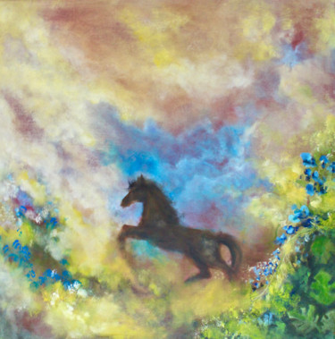 """Painting titled """"Arion horse"""" by Elmira Sharipova, Original Art, Oil Mounted on Stretcher frame"""
