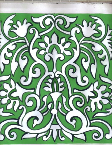 """Painting titled """"Green design painti…"""" by Sharmila Sharma, Original Art, Other"""