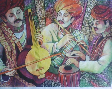 """Painting titled """"Instrument playing…"""" by Sharmila Sharma, Original Art, Oil"""