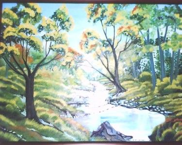 """Painting titled """"Forest painting - b…"""" by Sharmila Sharma, Original Art, Oil"""