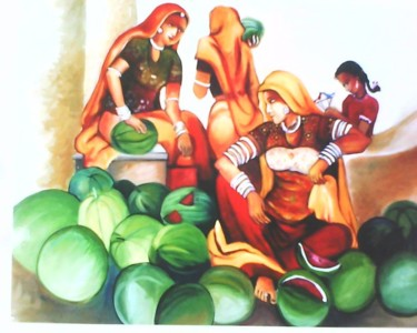 """Painting titled """"Fruits selling wome…"""" by Sharmila Sharma, Original Art, Oil"""