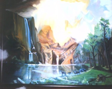 """Painting titled """"Water fall painting…"""" by Sharmila Sharma, Original Art, Oil"""