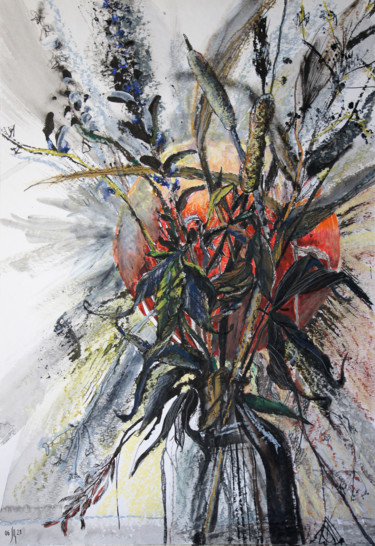 """Painting titled """"Field herbs. Hot -…"""" by Maria Shedrina, Original Art, Ink"""
