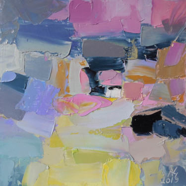 """Painting titled """"Pink evening"""" by Andria Shengelia, Original Art, Oil"""