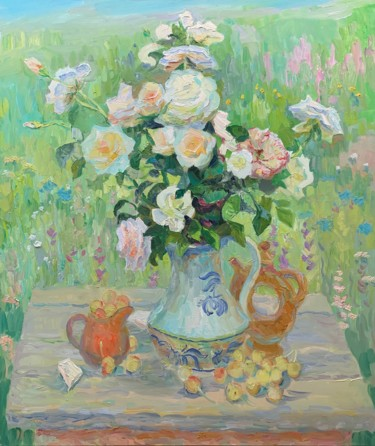 """Painting titled """"Roses in the garden"""" by Anton Sheretov, Original Art, Oil"""