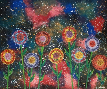 """Painting titled """"flower in galaxy"""" by So Hyon Kim, Original Art, Acrylic"""