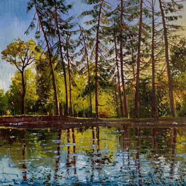 """Painting titled """"Oil painting green…"""" by Елизавета Пугачева, Original Art, Oil Mounted on Stretcher frame"""