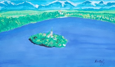 """Painting titled """"Bled Slovenia"""" by Kristof, Original Art, Tempera"""