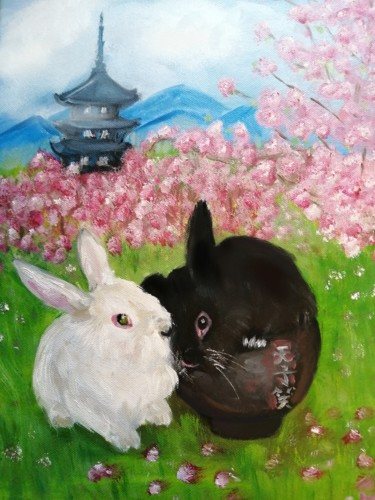"""Painting titled """"Rabbits"""" by Sonya_lonelypsycho, Original Art, Oil Mounted on Stretcher frame"""