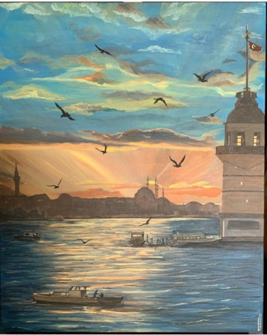 """Painting titled """"Sunset Bosphorus"""" by Turkan, Original Art, Acrylic Mounted on Stretcher frame"""