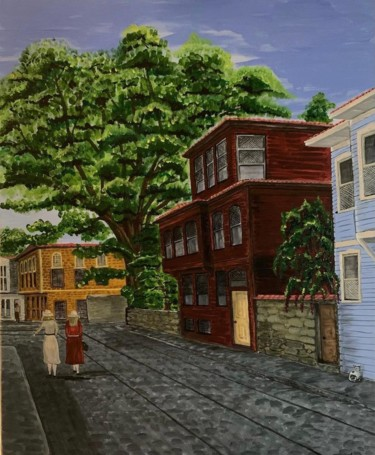 """Painting titled """"Old Istanbul Street"""" by Turkan, Original Art, Acrylic"""