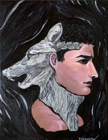 """Painting titled """"Silver wolf warrior"""" by Turkan, Original Art, Acrylic"""