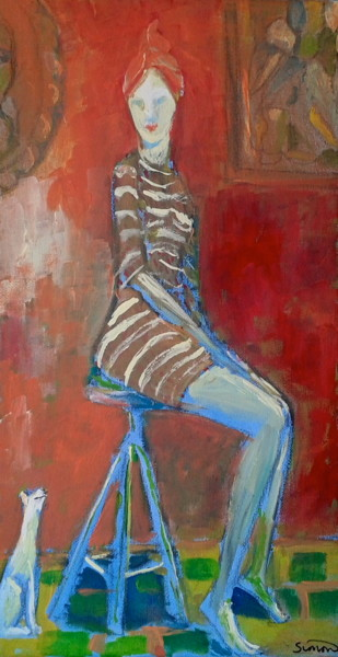 """Painting titled """"drum stool"""" by Simon Taylor, Original Art,"""