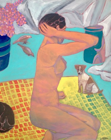 """Painting titled """"seated nude"""" by Simon Taylor, Original Art,"""