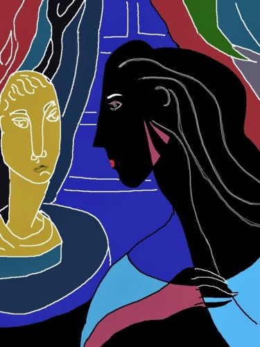 """Digital Arts titled """"woman and bust"""" by Simon Taylor, Original Art, Digital Painting"""