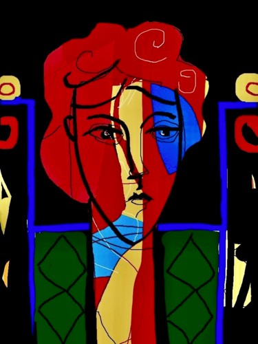 """Digital Arts titled """"woman in chair"""" by Simon Taylor, Original Art, Digital Painting"""