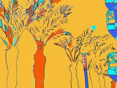"""Drawing titled """"Palm Trees"""" by Simon Taylor, Original Art,"""
