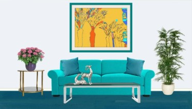 """Painting titled """"palm-trees-in-situ."""" by Simon Taylor, Original Art,"""