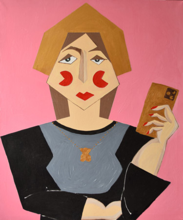 """Painting titled """"Selfportrait"""" by Julia Sirota, Original Art, Oil Mounted on Stretcher frame"""