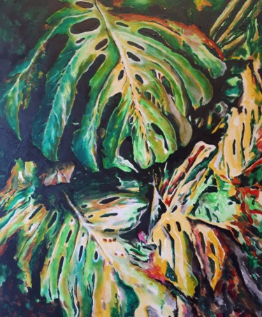 """Painting titled """"Monstera deliciosa"""" by Alfonso Rodriguez, Original Art, Acrylic"""