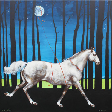 Horse Painting, acrylic, surrealism, artwork by Małgorzata Łodygowska