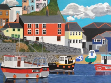 """Painting titled """"Mevagissey Harbour,…"""" by Sue Redward-Green, Original Art, Acrylic Mounted on Stretcher frame"""