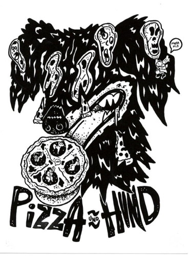 """Drawing titled """"Pizza"""" by Slin, Original Art, Marker"""
