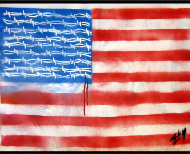 """Painting titled """"Barbs And stripes"""" by Sly Art, Original Art, Acrylic"""
