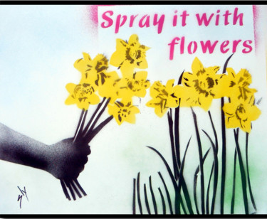 """Painting titled """"Spray it with Flowe…"""" by Sly Art, Original Art, Acrylic"""