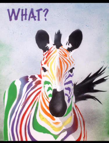 """Painting titled """"What Zebra (on plai…"""" by Sly Art, Original Art, Acrylic"""
