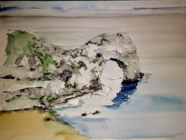 """Painting titled """"Coast of Dorset,Eng…"""" by Benny Smet, Original Art, Watercolor"""