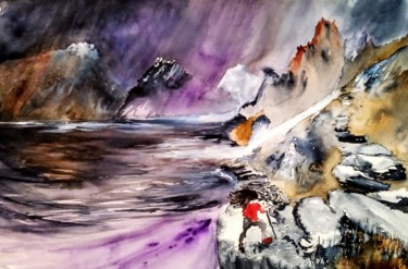 Mountainscape Painting, watercolor, figurative, artwork by Benny Smet