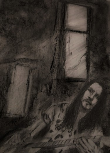 Guitar Drawing, charcoal, figurative, artwork by Benny Smet