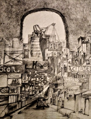City Drawing, graphite, figurative, artwork by Benny Smet