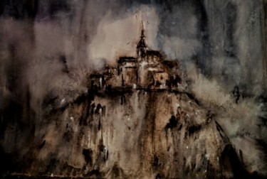 Monument Painting, watercolor, abstract, artwork by Benny Smet